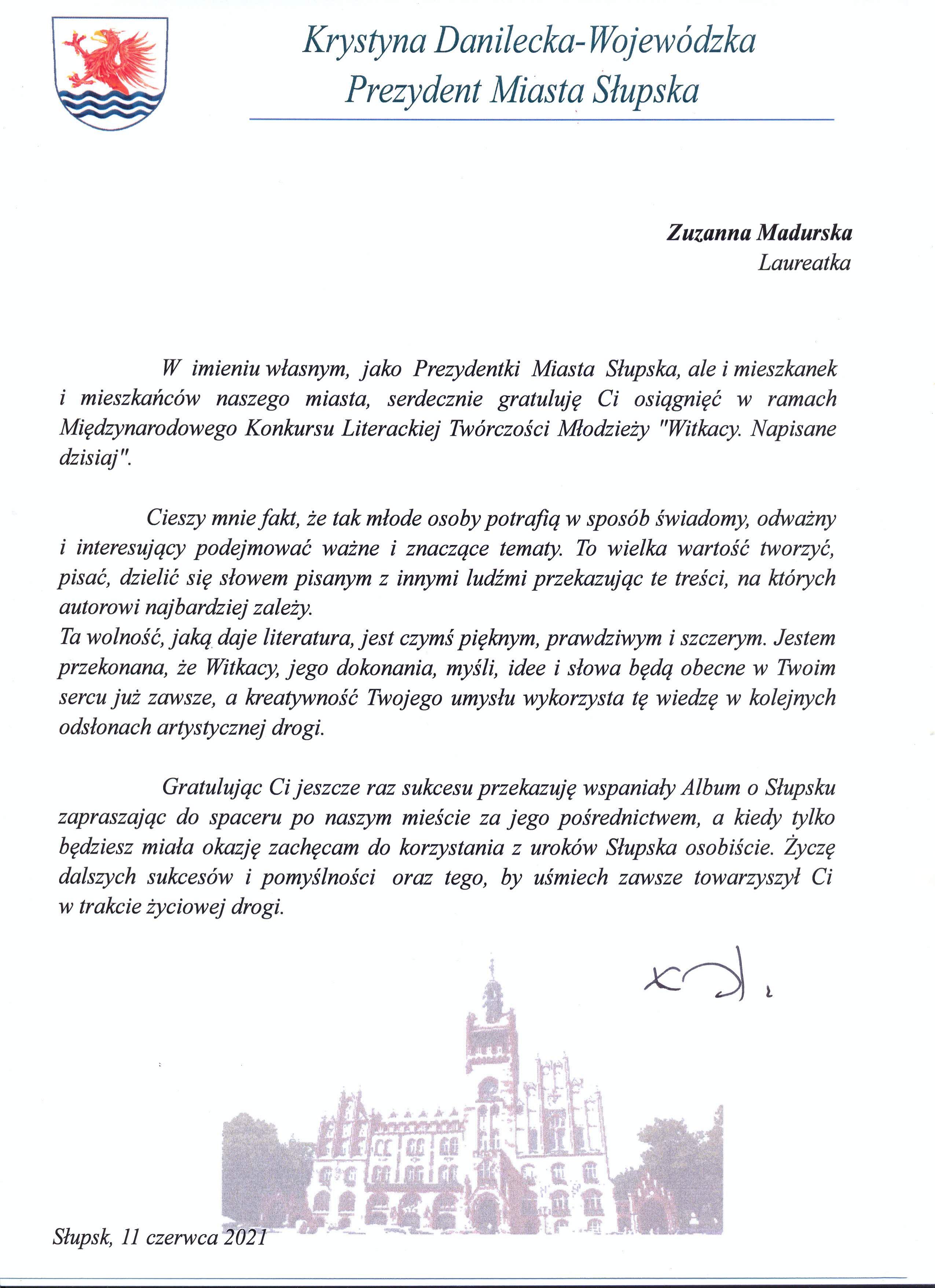 XIV LO - List gratulacyjny dla Zuzanny Madurskiej.png