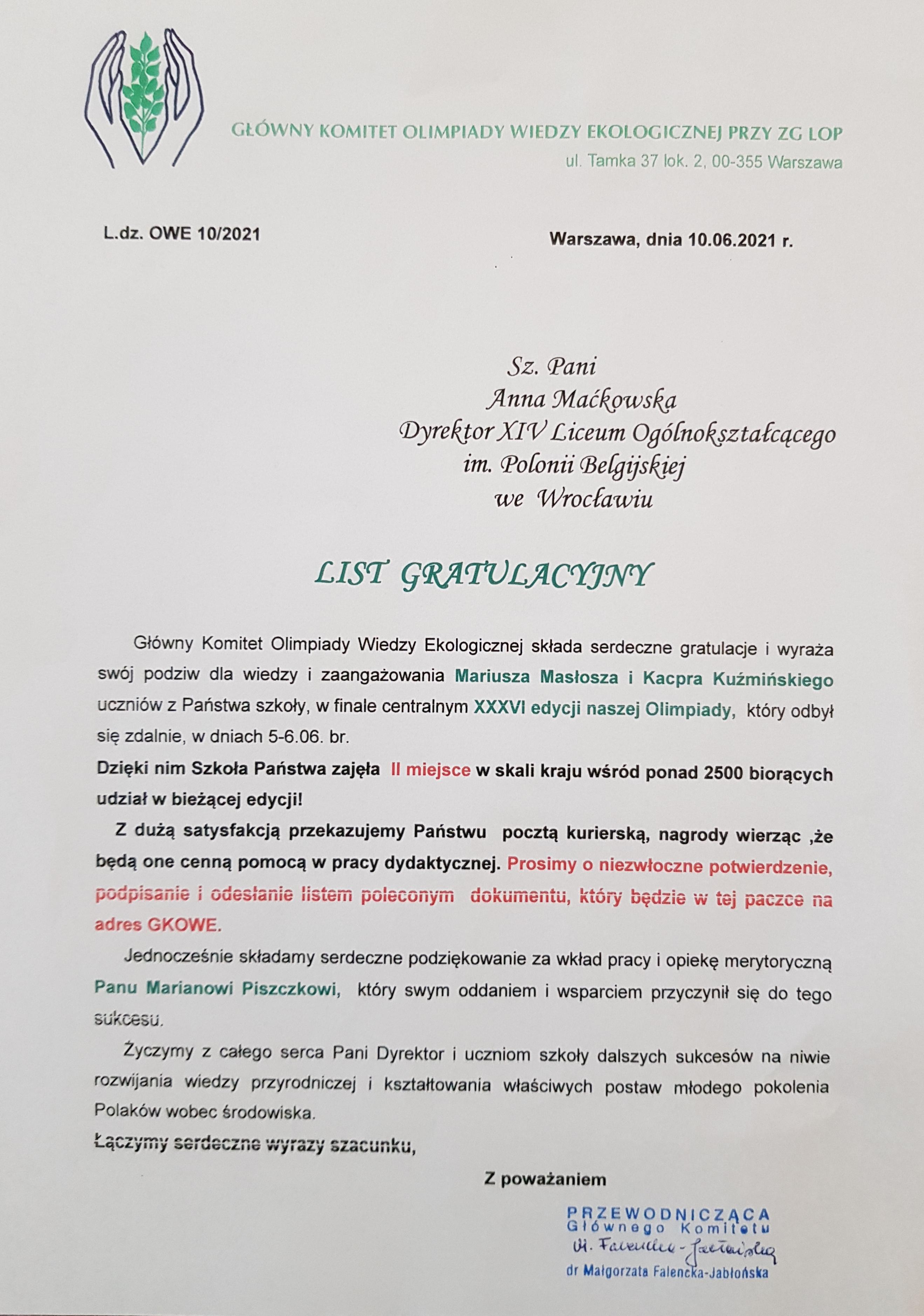 XIV LO - List gratulacyjny Olimpiada Wiedzy Ekologicznej