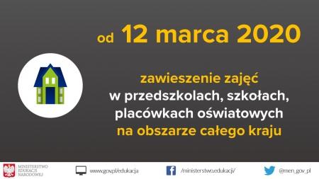 Zawieszenie zajęć dydaktyczno-wychowawczych w dniach 12-25.03.2020 r.