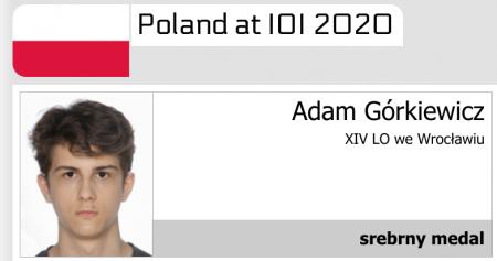 Srebrny medal Adama Górkiewicza w Międzynarodowej Olimpiadzie Informatycznej