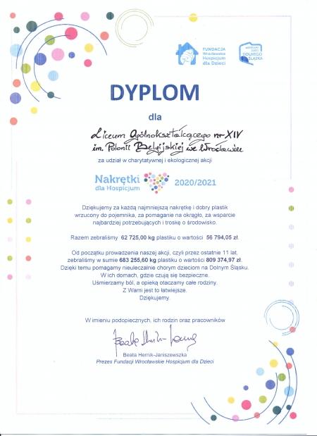 Podziękowanie od Fundacji Wrocławskiego Hospicjum dla Dzieci